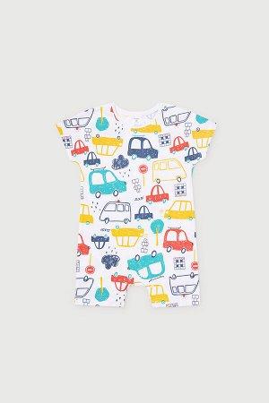Полукомбинезон(Весна-Лето)+baby (цветные машинки на белом)