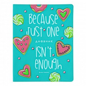 """Дневник универсальный для 1-11 классов """"Пончик"""", интегральная обложка, ляссе, 48 листов"""