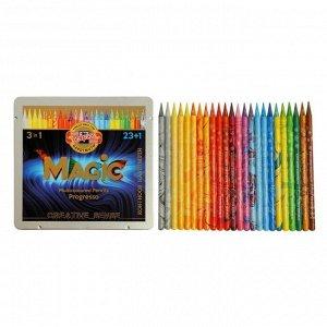 Карандаши цветные цельнографит 24цв Koh-i-Noor PROGRESSO MAGIC 8774+блендер, мет/пенал