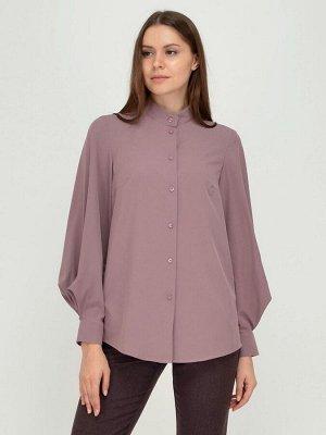 Блуза кофейного цвета с воротником-стойкой и объемными рукавами