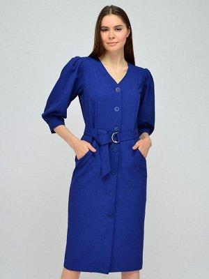 Платье синее длины миди с рукавами 3/4 и поясом