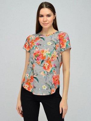 Блуза серая с цветочным принтом и короткими рукавами