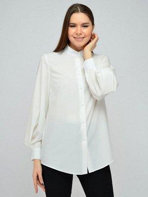 Блуза молочного цвета с объемными рукавами и декоративной складкой