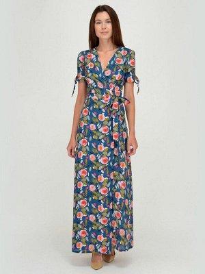 Платье синее с цветочным принтом длины макси с запахом