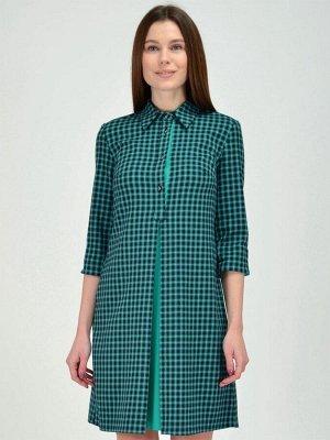 Платье зеленое с пуговицами на планке и карманами