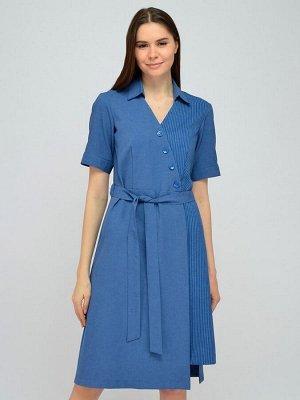Платье синее ассиметричного кроя с поясом