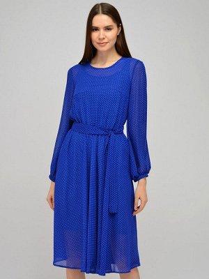 Платье с принтом длины миди  и объемными рукавами