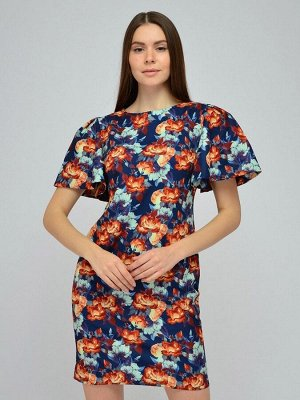 Платье синее с цветочным принтом и объемными короткими рукавами