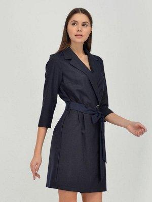Платье синее длины мини с рукавами 3/4 и поясом