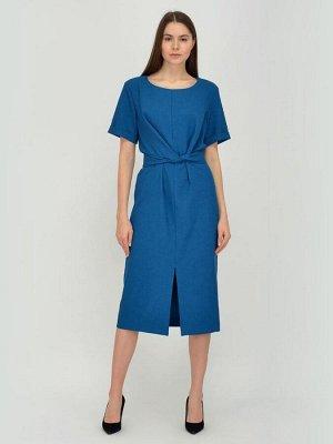 Платье синее длины миди с разрезом спереди
