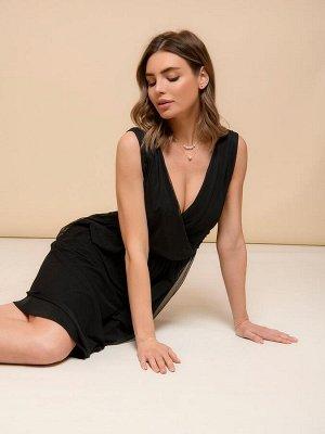 Платье черное с фатиновым верхом длины мини