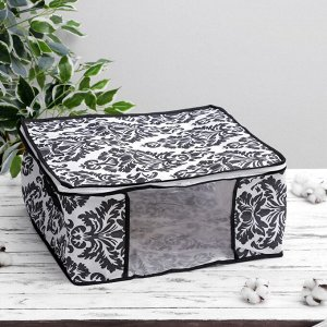 Кофр для хранения вещей «Вензель», 45×45×20 см, цвет чёрно-белый