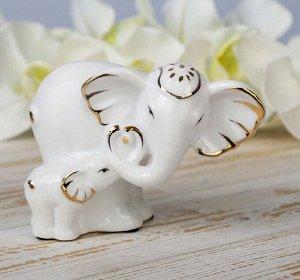 """Сувенир """"Белая слониха со слонёнком"""" 9,5х13х7,3 см"""