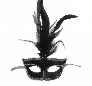 Карнавальная маска, с перьями, 10х18 см, цвет чёрный