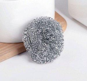 Губка для мытья посуды металлическая Доляна, спираль, 15 гр
