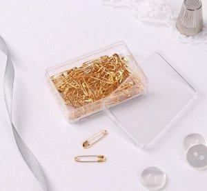 Булавки английские №000, 19 × 4 мм, 80 шт, цвет золотой