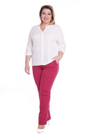"""Брюки-4826 Модель брюк: Прямые; Материал: Хлопок стрейч; Цвет: Розовый; Фасон: Брюки; Параметры модели: Рост 173 см, Размер 54 Брюки """"классика"""" с карманами на молнии малиновые Элегантные брюки из мягк"""