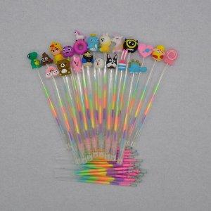 Ручки гелевые в прозрачном корпусе с разноцветными чернилами (5 шт + 5 запасных стержней)
