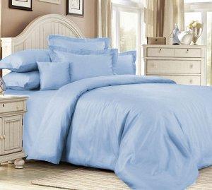 """Элитное постельное белье сатин """"Placid Blue"""" 2 сп. с простыней на резинке 140х200"""