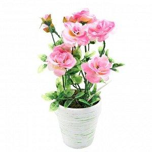 Искусственное растение Кустовая Роза Цвет Розовый (8х8х22 см)