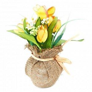 Искусственное растение Букет Тюльпанов Цвет Жёлтый (14х15х22 см)