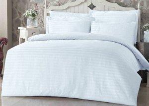 Элитное постельное белье страйп-сатин 3х3 см (Белый) 2 сп. с простыней на резинке 140х200