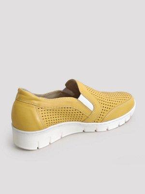 Туфли женские летние, желтая кожа