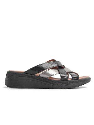Туфли женские летние, черная кожа