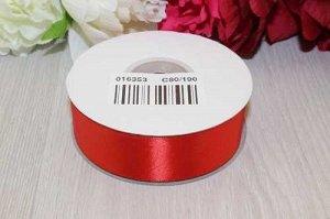 Однотонная атласная лента (красный) 25мм * 30 ярдов (+-1м)