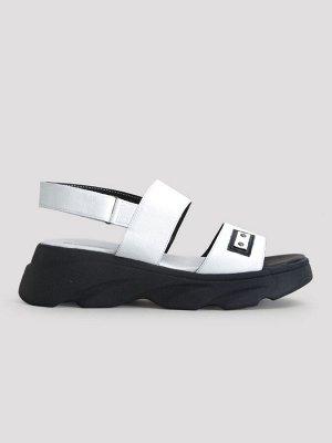 Туфли открытые летние женские, белая кожа