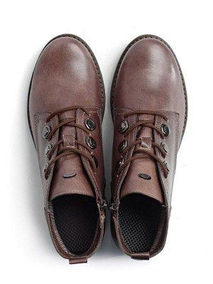 Ботинки женские демисезонные, коричневая кожа