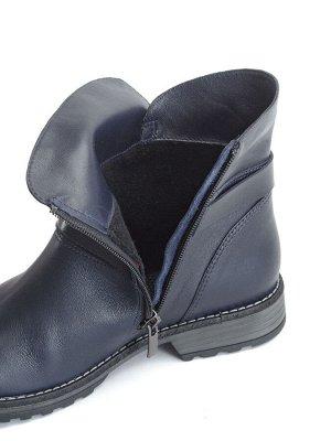 Ботинки женские демисезонные, синяя кожа