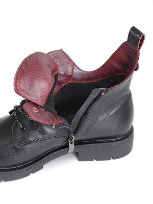 Ботинки женские демисезонные, черный кожа
