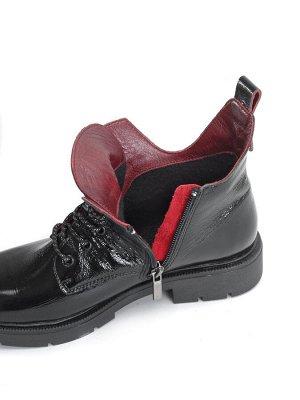 Ботинки женские демисезонные, лак натуральный