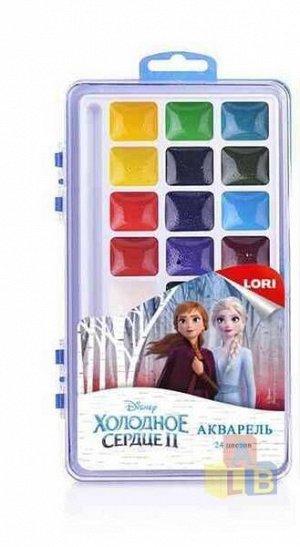 """Акд-010 Акварель Disney """"Холодное сердце-2"""" 24 цветов, в пластике, б/к"""