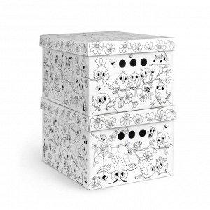VAL KCTN-RS-2S Короб-раскраска картонный, складной, малый, 25*33*18.5 см, набор 2 шт., ПТИЧКИ