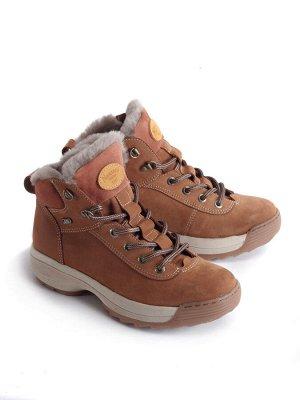Ботинки зимние женские, коричневый нубук