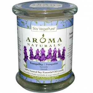 Aroma Naturals, 100% Натуральная Соевая Свеча «Спокойствие» с Эфирным Маслом Лаванды, 8.8 унций (260 г)