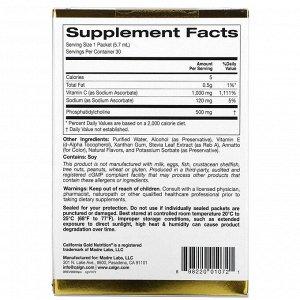 California Gold Nutrition, Липосомальный витамин C, с натуральным ароматизатором «Апельсин», 1000 мг, 30 пакетиков по 5,7 мл (0,2 унции) в каждом