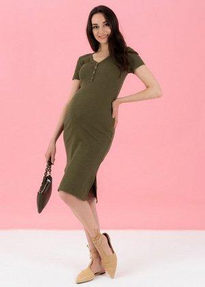 """Платье """"Алиса"""" для беременных и кормящих хаки"""