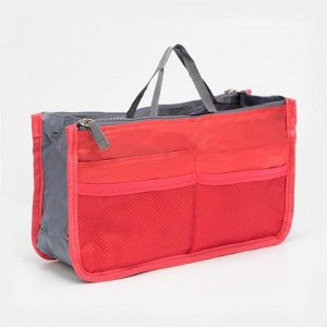 Косметичка-вкладыш, 3 отдела на молниях, 10 наружных карманов, цвет красный