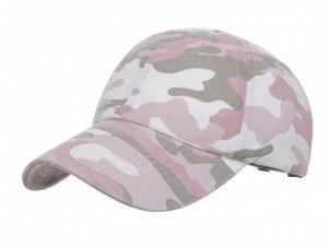 """Женская кепка, принт """"Камуфляж"""", цвет серый/белый/розовый"""
