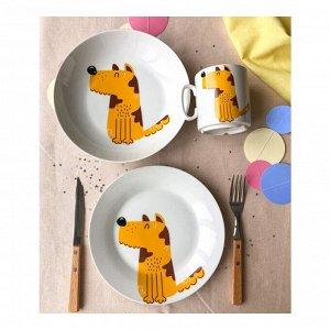 Набор посуды Пёс (3 в 1: кружка+тарелка+глуб. тарелка)