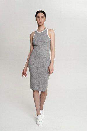 Платье:жен. МОДЕЛЬ 9. Стальной/экрю
