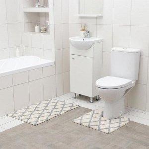 Набор ковриков для ванны AntiSlip, 2 шт: 50?80 см, 50?50 см, 100% хлопок, цвет белый