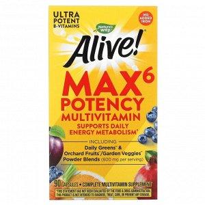 Nature's Way, Alive! Max6 Potency, мультивитамины повышенной эффективности, без добавления железа, 90 капсул