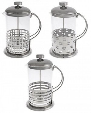 Кофейник Френч-пресс объемом 800мл в корпусе из нержавеющей стали, с фильтрующим поршнем из нержавеющей стали, подходит для заваривания кофе и чая. 3 дизайна.