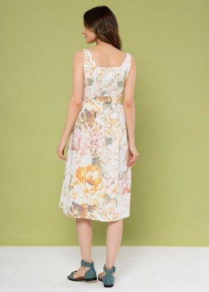 """Летнее платье-сарафан с пуговицами и поясом для беременных и кормления """"Даника""""; белый"""