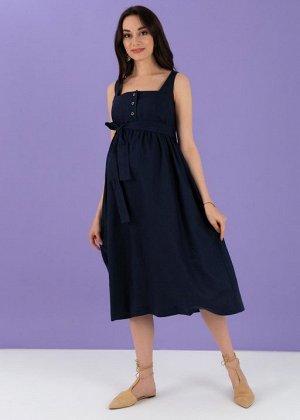 """Летнее платье-сарафан с пуговицами и поясом для беременных и кормления """"Даника""""; синий"""