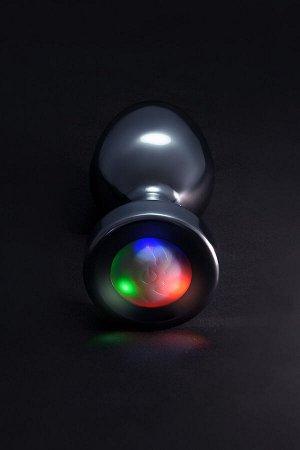 Анальная втулка со светодиодами, металл, серебристая, 8,8 см, ø 3,4 см, 105 г